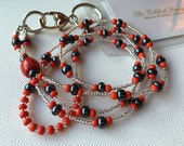 Navy and Red Beaded Lanyard great for flight attendant and teacher