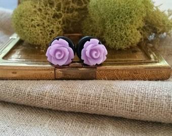 Bridal Plugs, Girly Plugs, Flower Plugs, Purple, Roses