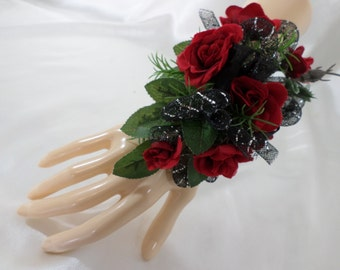 Wrist Corsage - Red Mini Silk Roses Flower Corsage - Floral Corsage - Mother of the Bride Corsage - Prom Corsage