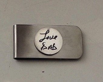 Custom Money Clip - Memorial Jewelry Featuring the Actual Handwriting  of Your Loved One - Fine Silver and Stainless Steel