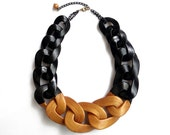 Black Gold Statement Necklace, Chunky Chain Necklace, Gold Dipped Bib Necklace