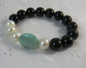 Onyx stretchy bracelet chunky gemstone bracelet Amazonite and freshwater pearls Fashion Stacking bracelet