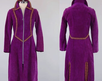 Vintage 60s purple suede jacket dress / MOD tailored jacket / Woven trim