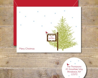 Christmas Cards, Cardinals, Cardinal Christmas Cards, Holiday Cards, Christmas Card Set, Rustic Christmas Cards, Evergreen Tree