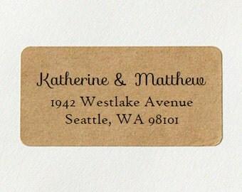 Return Address Labels - Design #01, Kraft Address Labels, Cursive Address Labels, Custom Printed Address Labels, Rustic Wedding
