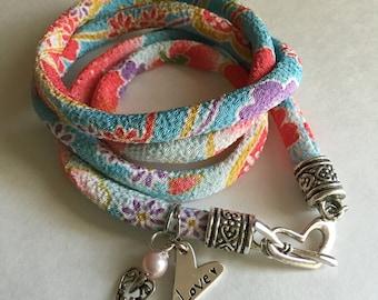Yoga Style Bracelet, Japanese Cord Wrap Bracelet, 4X Wrap Bracelet, Chirimen Cord Bracelet, Heart Wrap Bracelet, Spring Bracelet