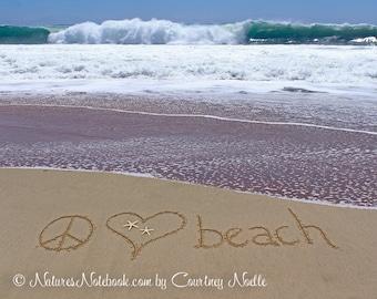 Peace Love Beach Sign -Teen Room Decor - Dorm Room Decor - Teenager gift - Unique Beach Decor - Beach Theme Decor -Beach Bathroom-Ocean Room