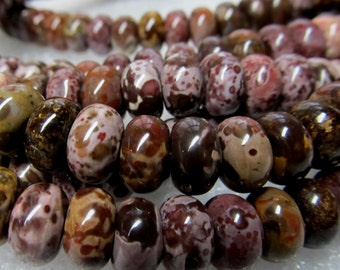 Jasper Beads 10 X 6mm Smooth Natural Chocolate Flower Jasper Multicolored Rondelles - 16 Pieces