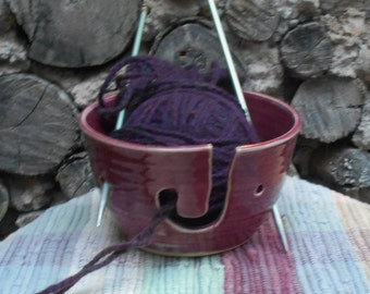 Rustic Red Ceramic Yarn Holder Bowl - Stoneware Crochet yarn caddy - Pottery knitting bowl - Red Raspberry Glaze - 01217