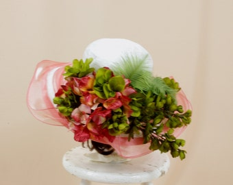 Salmon Pink and White Hat * White Floppy Hat * Kentucky Derby Hat * Pink and Green Hat * Church Hat * Wedding Hat * Floral Hat * Formal Hat