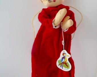 Herman Pecker Christmas Angel Bendable Doll Ornament New Vintage