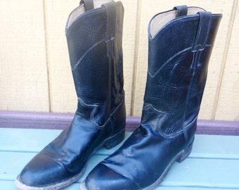 Vintage Justin Roper Western Boots Size 7.5  Black