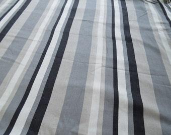 Vintage U.S.A. Margin Designs Cotton Gray Black Stripe Fabric 2.9 yards