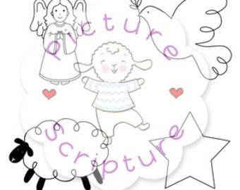 Digital Stamps - Christmas images,  Digi Stamps, Angel, sheep, Star, Dove, Christmas, Downloadable, Printable,
