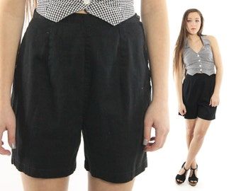 Vintage 60s High Waisted Shorts Black Cotton 1960s Medium M Rockabilly Pinup Fashion