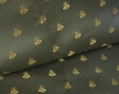 """Silky Silver Gray Brocade Upholstery Fabric with Woven Golden Yellow Bugs, 59"""" x 1 1/2 YDs"""