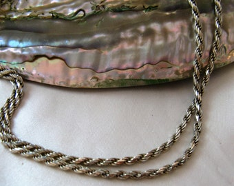 """Vtg 925 Sterling Silver Italian Rope Chain Necklace, 30"""""""