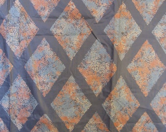 """Vintage 1950s Gray & Pink Chintz Diamond-Shapes  Floral Fabric Curtain Panel, 41"""" x 2+ YDs"""