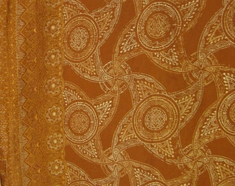"""Toffee Brown & White Super Opulent Java """"Embroidery"""" Cotton Fabric, 46"""" x 2 7/8 YDs"""