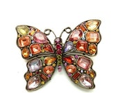 50% OFF Beautiful Vintage Butterfly Pin Pastel and Jewel Tone Rhinestones 3 Inches Antiqued Silver