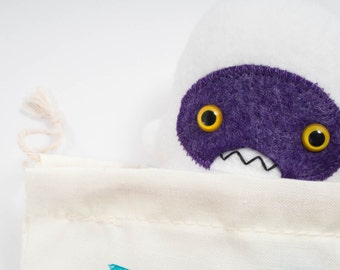 Travel adventure friend! Mini yeti plush companion... Custom monster white & purple.