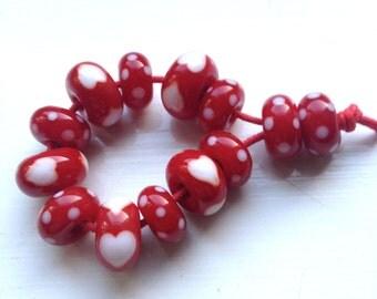 Red Sweetheart Lampwork Beads, SRA, UK Seller