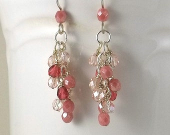 Shades of Pink Czech Glass Cluster Earrings with Sterling Silver Ear Wires