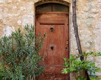 Fine Art photography, old wooden door, France, St Paul de Vence, 8x12, stone wall, plants
