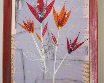 Abstract flowers collage, mixed media art, recycled home decor