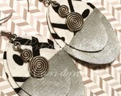 Clearance - Hand painted silver Oval black and white design with antique silver charms fabric  Earrings