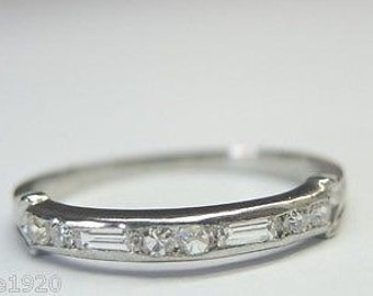 Antique Diamond White Gold Wedding Band Ring | RGHET- 162