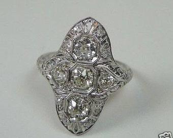 Antique Diamond Platinum Engagement Ring  | RE: 576