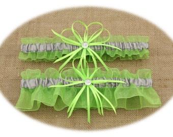 Lime Green and Silver/Grey Wedding Garter Set, Bridal Garter Set  (Your Choice, Single or Set)