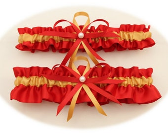 Red and Antique Gold Satin Wedding Garter Set, Bridal Garter Set