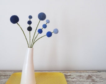 Felt flowers.  Bluebells.  Cobalt blue and denim blue wool Pom Pom Flowers.  Woolly heads.  Mod decor.  Hydrangeas.  Sky blue.  Wool Balls