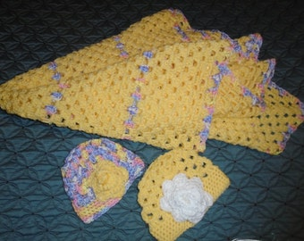 Yellow  Baby  Afghan with Two Hats