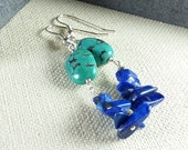 Turquoise and Lapis Luzuli Earrings, Green and Blue Earrings, Gemstone Earrings,