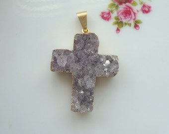 Amethyst Druzy Drusy Cross Charm Pendant, 24K Gold Electroplated - reduced from 18.90, a82