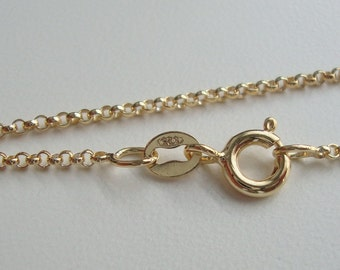 1 pc, 1.5 mm, 16 Inches, 46cm, 18K Gold Finished Rolo Chain, spring clasp, hallmarked,