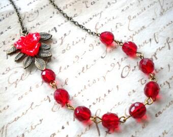 Red Necklace Flower Necklace Leaf Necklace Red Jewelry Romantic Necklace Red Flower Necklace Red Flower Jewelry Romantic Jewelry