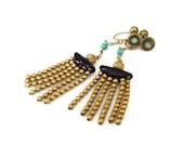 Art Deco Earrings, Egyptian Revival, Gold Tone Fringe, Green Black Glass, Chandelier Earrings, Dangle Earrings, Antique Jewelry