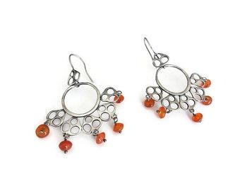 Sterling Amber Earrings, Long Dangle, Chandelier Earrings, Amber Beads, Scandinavian Look, Modernist Jewelry, Vintage Earrings