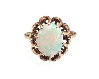 14K Opal Ring, Gold 585, English UK, Opal Gemstone, Mid Century, Vintage Ring, Vintage Jewelry, October Birthstone, Size 8.75