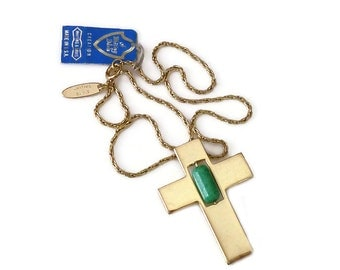 Whiting and Davis Gold Cross Green Art Glass Necklace - Christian Cross, Gold Tone, Green Art Glass, Designer Jewelry, Vintage Necklace