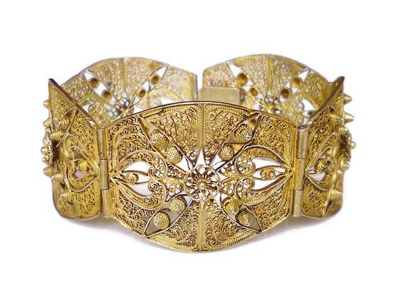 Portugal Bracelet Porto Silver 800 Vermeil Gold Filigree