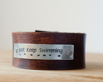 Just Keep Swimming Leather Cuff with Fishies
