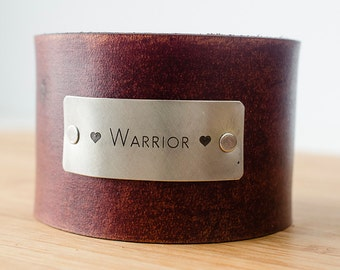 Love Warrior Custom Text on Wide Distressed Leather Cuff
