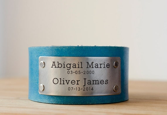 Childrens Names and  Birthdays on Distressed Leather Cuff