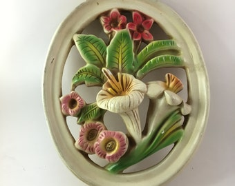 Vintage Molded plaster wall art - floral bouquet lily - oval