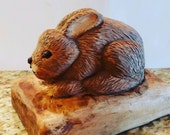 Hand Carved Wood Bunney Easter Birthday Anniversary Collectible Unique